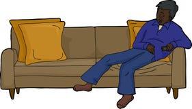 Person Asleep sur le divan Photo stock