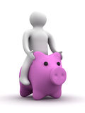 Person astride a pig. Stock Photo