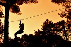 Person attached to the rope Royalty Free Stock Image