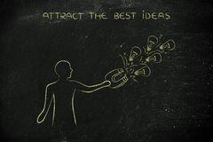 Person attracting lightbulbs (ideas) with magnet, creativity con Stock Photo