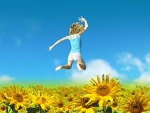 Person auf dem Sonnenblume-Gebiet Lizenzfreie Stockfotografie