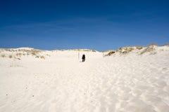 Person auf Sanddünen lizenzfreies stockfoto