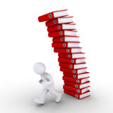 Person is avoiding a falling pile of folders. 3d person is running away from falling pile of folders Stock Photo