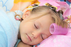 Person baby Girl. The girl was asleep in his baby bed, baby wearing Stock Photo