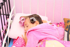 Person baby pink kid. The girl was asleep in his baby bed, baby wearing Royalty Free Stock Photography