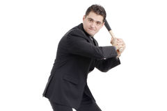 Person with a baseball bat preparing to strike Royalty Free Stock Images