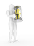 The person with a battery in hands Stock Photo