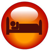 Person in bed icon. Red icon of person lying down in bed Royalty Free Stock Image