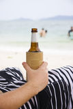 Person With Beer On Beach Stock Photos