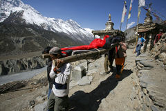 Person being rescued in the himalayas Royalty Free Stock Photo