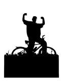 Person on bicycle. Black winning  siluette, great for posters or flayers... or background Stock Photos