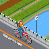 Person On Bicycle Isometric Illustration disabile Illustrazione di Stock