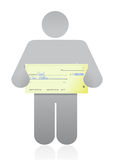 Person with a big check in hand illustration. Design over white Royalty Free Stock Photography