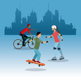 Person on bike roller skating city background Stock Images