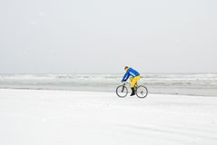 Person in bike on the snow Royalty Free Stock Image