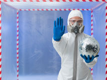 Person in biohazard suit warns against contaminantion Royalty Free Stock Photography