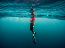 Person in Black and Grey Flippers Swimming Royalty Free Stock Photos
