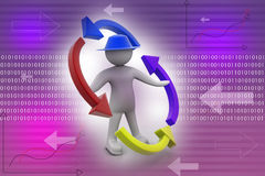 Person and blank arrows in circle. Recycling. 3d people - man, person and blank arrows in circle. Recycling Stock Images