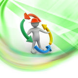 Person and blank arrows in circle. Recycling. 3d people - man, person and blank arrows in circle. Recycling Stock Photo