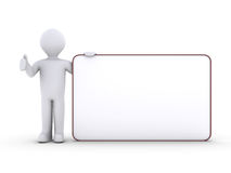 Person with blank board. 3d person holding a blank board Royalty Free Stock Images