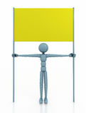 Person with blank board. 3d  person with blank board Royalty Free Stock Images