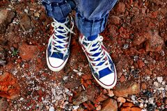 Person in Blue Denim Jeans in Blue and White Sneakers Stock Images