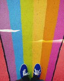 Person in Blue Low Top Sneakers Stock Photography