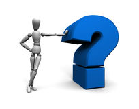 Person and Blue Question Mark. Alternate color and angle or 3D mannequin leaning against blue question mark Stock Image