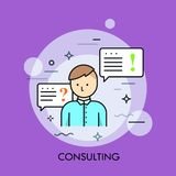 Person in blue shirt or manager and speech bubble with question and exclamation marks. Business consulting service. Professional advice concept. Vector Royalty Free Stock Photography