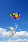 Person in blue sky with balloons. 3D render of a white character floating in the sky with a bunch of balloons Royalty Free Stock Photos