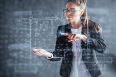 The person at the board of a financial dashboard of key indicators of stock market performance and business intelligence.  Royalty Free Stock Photo