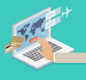 Person booking his airline flights online Stock Photos