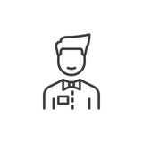 Person with bow tie line icon. Outline vector sign, linear style pictogram isolated on white. Waiter symbol, logo illustration. Editable stroke. Pixel perfect Stock Photography