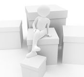 Person with boxes Stock Photography
