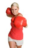 Person Boxing. Beautiful aggressive sports person boxing Stock Image
