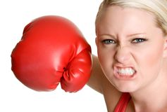 Person Boxing. Aggressive person throwing boxing punch Stock Photo