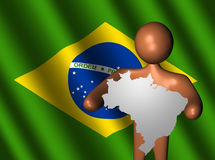 Person with Brazil map sign on flag Royalty Free Stock Photo