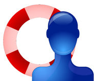 Person with buoy. Blue person with life saving buoy Royalty Free Stock Photo