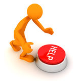 Person and the button. Man presses on the button Help. 3D render Royalty Free Stock Photos