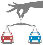Person buy decision choice cars. Person weighs decision to buy car on scales Royalty Free Stock Images