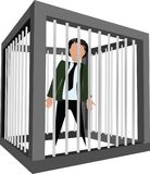 Person in a cage arrested.  Royalty Free Stock Image
