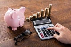 Person Calculating Savings On Calculator Immagine Stock