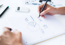 Person calculation home budget Stock Photo