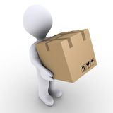 Person carries carton box. 3d person is carrying a sealed carton box Royalty Free Stock Image