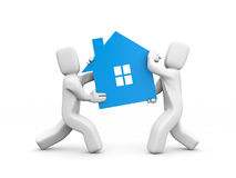 Person carrying house icon. Teamwork Royalty Free Stock Images