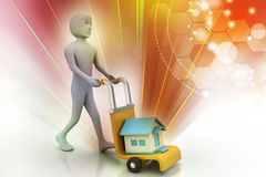 Person carrying house in trolley Royalty Free Stock Photos