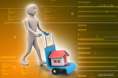 Person carrying house in trolley Stock Photography
