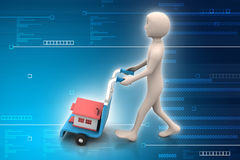 Person carrying house in trolley Royalty Free Stock Photography