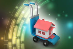 Person carrying house in trolley Royalty Free Stock Images