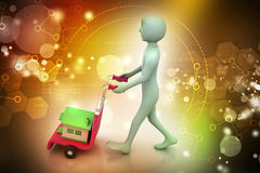 Person carrying house in trolley Royalty Free Stock Image